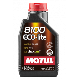 Motul 1L Synthetic Engine Oil 8100 0W20 ECO-LITE
